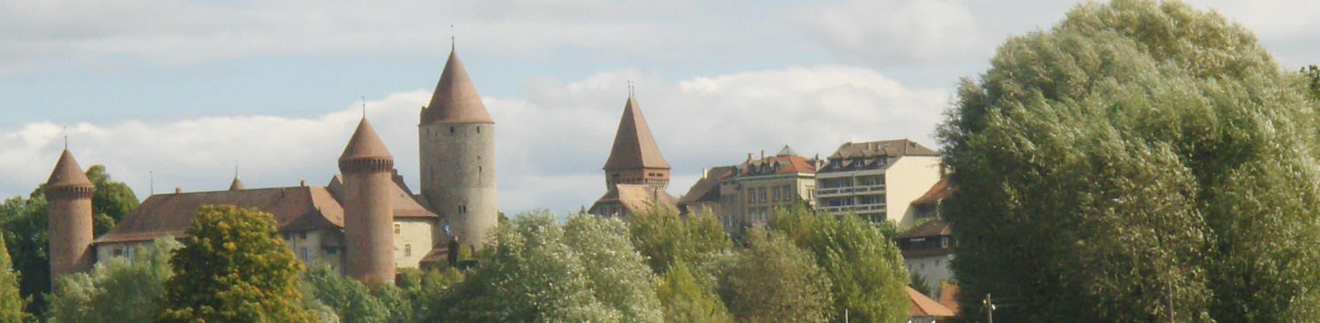 Aussicht auf Schloss und Wald, Region La Broye-Nord Vaudois